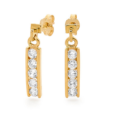 Gold and Zirconia Earrings