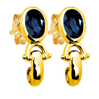 Sapphire and Gold Stud Earrings