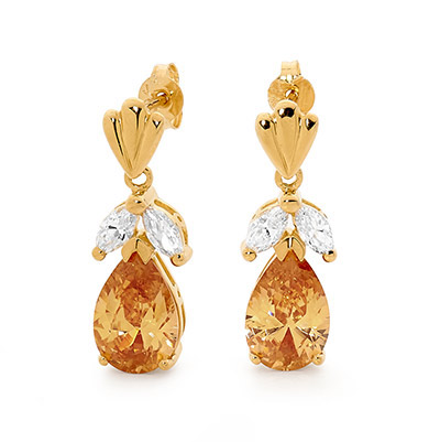 Champagne Zirconia Drop Earrings