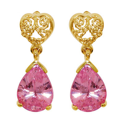 Pink Zirconia Drop Earrings