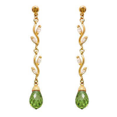 Long Drop Earrings with Zirconia