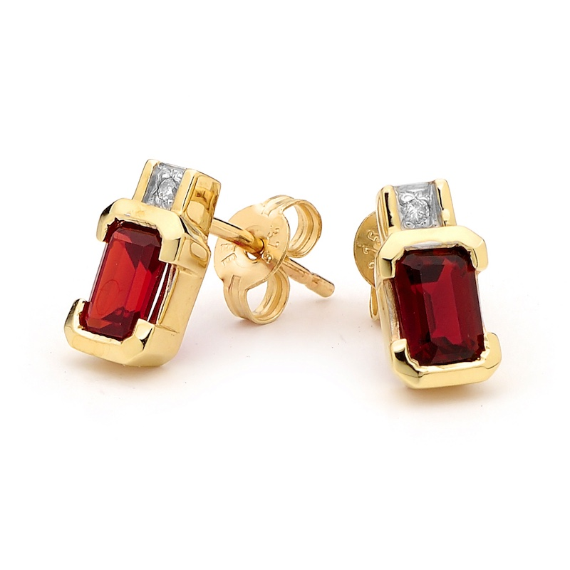 Octagonal Created Ruby Studs with Diamond