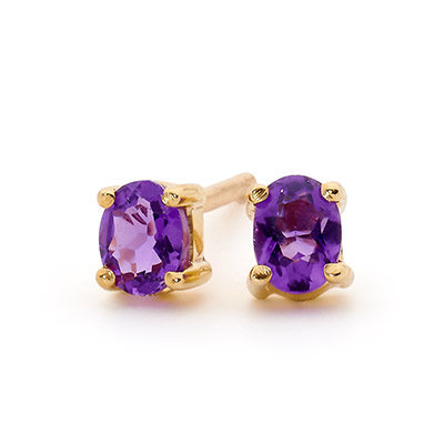 Oval Amethyst earrings in 9 ct. gold