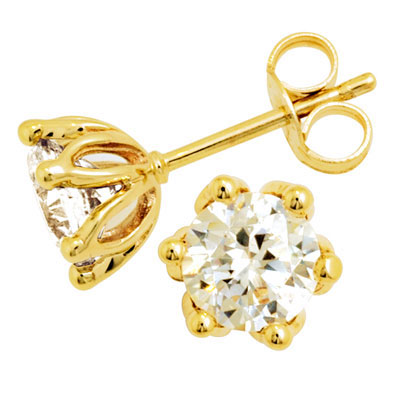 Yellow gold Cubic Zirconia Studs