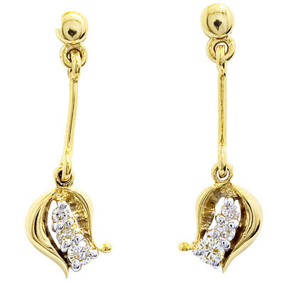 "Diamond Drop Earrings ""Flower Pod"""