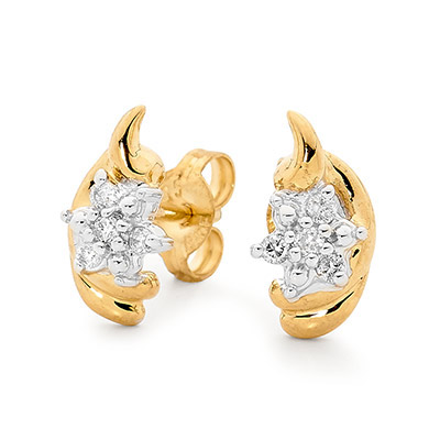 "Diamond Earrings ""Flower and Petal"""