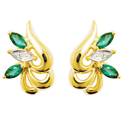 Orchid design Emerald and Diamond earrings