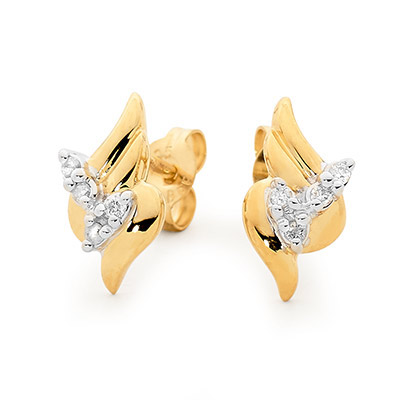 Diamond Set Petal Style Earrings