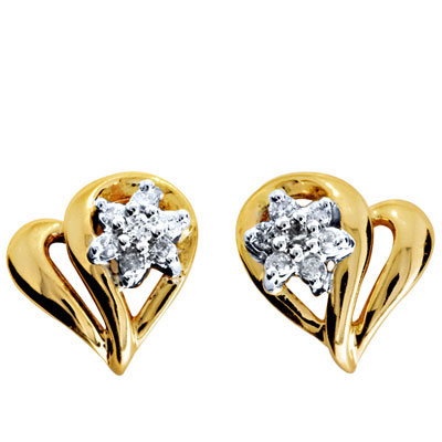 Diamond Heart Cluster Earrings