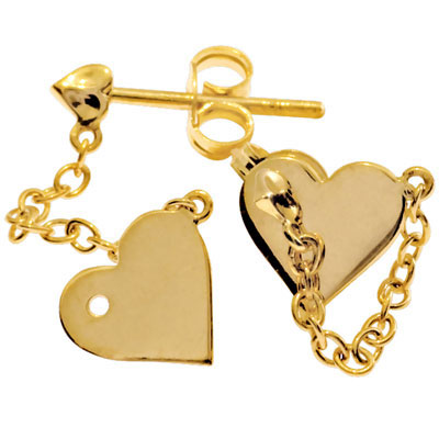 "Gold Heart Stud Earrings ""Amore"""