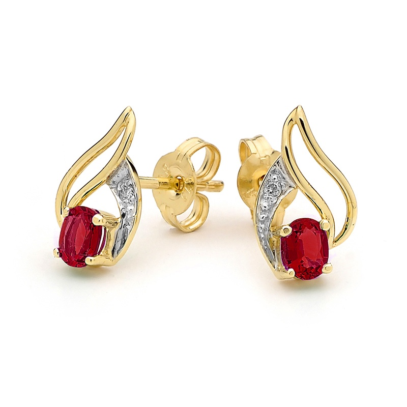 Ruby and Diamond Petal Style Stud Earrings
