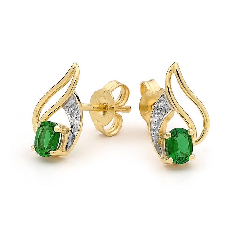 Created Emerald and Diamond Earrings
