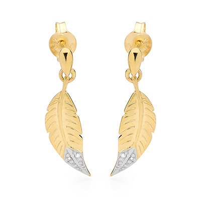 9 ct. gold feather design earrings