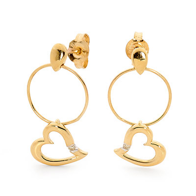 Hoop and Heart Earrings with Diamond