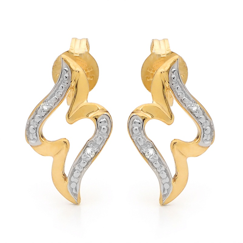 Double Wave Ear Studs in Gold with Diamonds