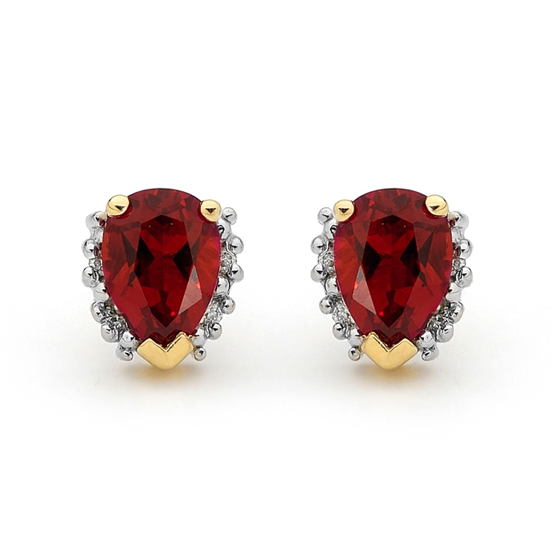 Created Ruby and Diamond Stud earrings
