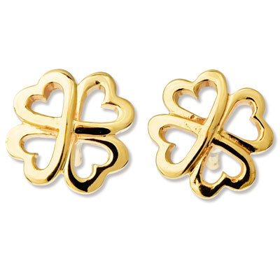 Cute Clover Earrings - Gold