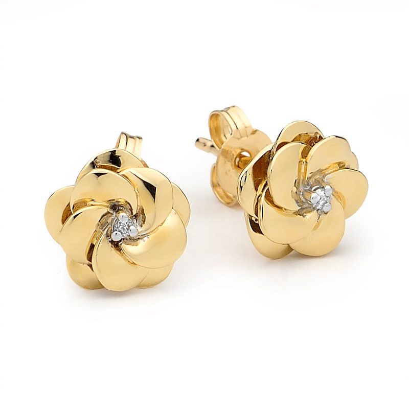 Diamond Set Camelia Earrings