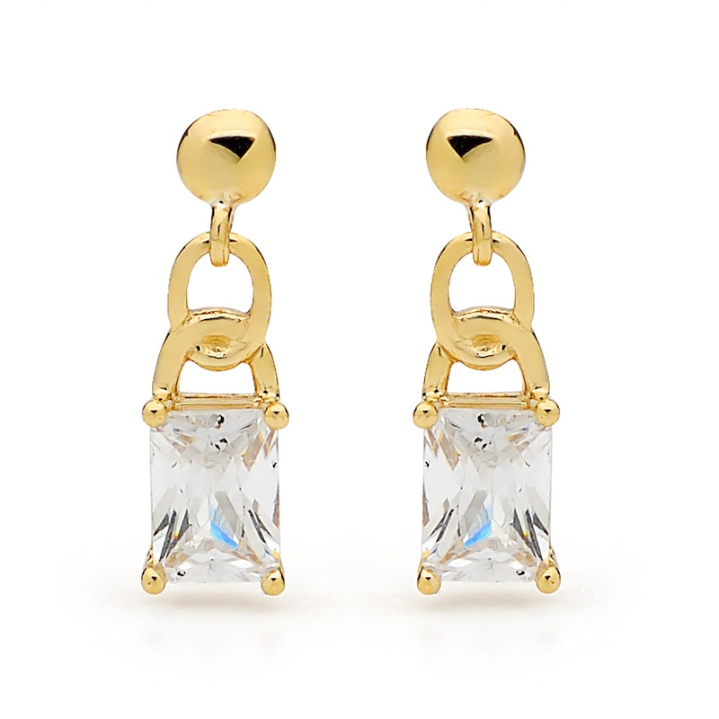 Link Style Zirconia Drop Earrings