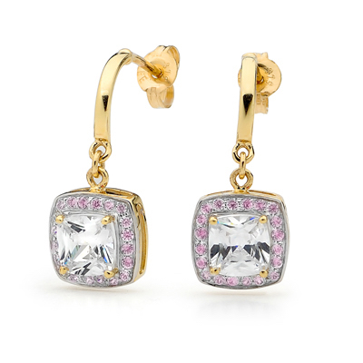 Pink White Opera Style Zirconia Earrings