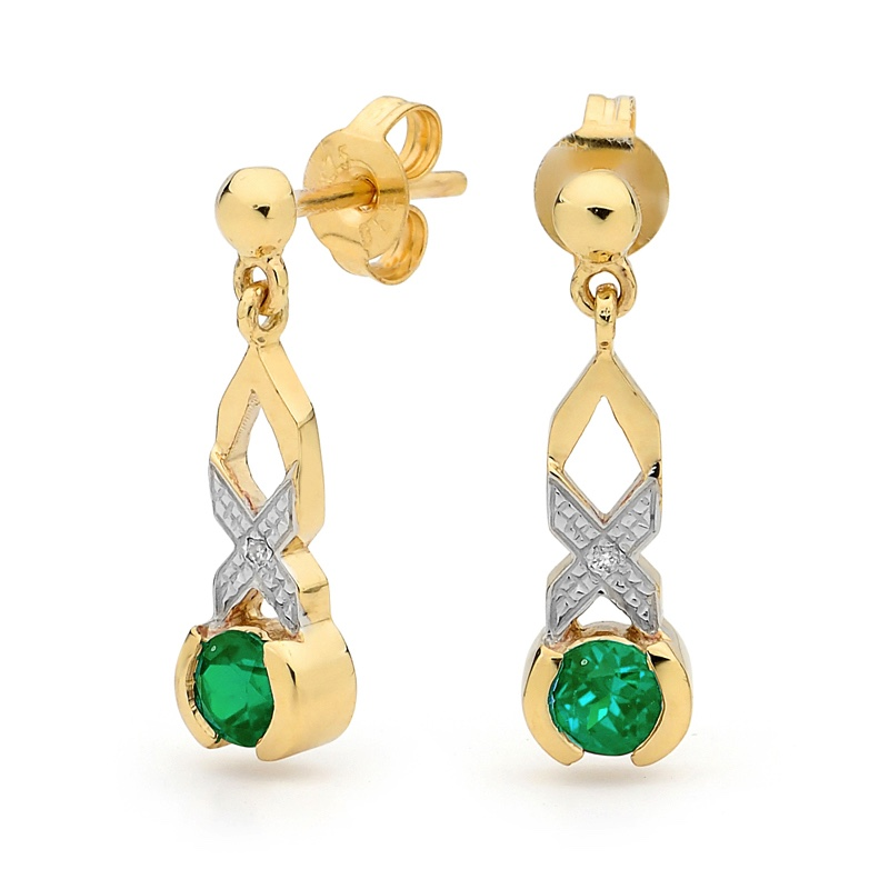 Emerald an diamond Kiss Hug Earrings