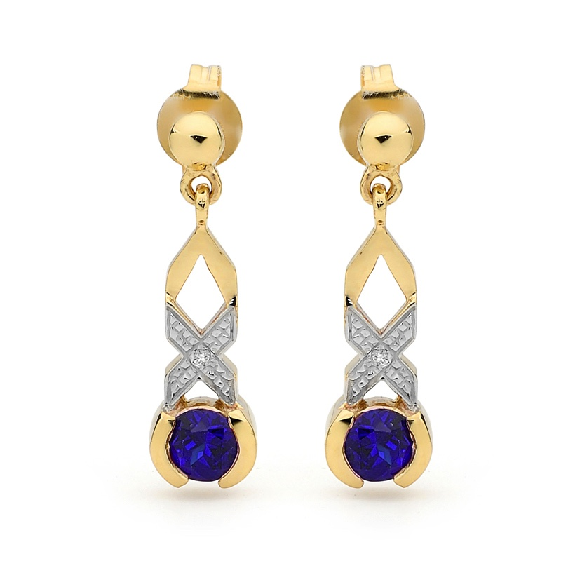 Kiss Hug Earrings with Sapphire and Diamond