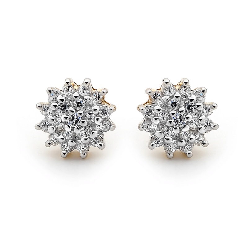 Zirconia Cluster Earrings - Gold