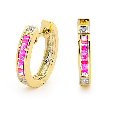 Pink Sapphire and Diamond Huggie Style Earrings