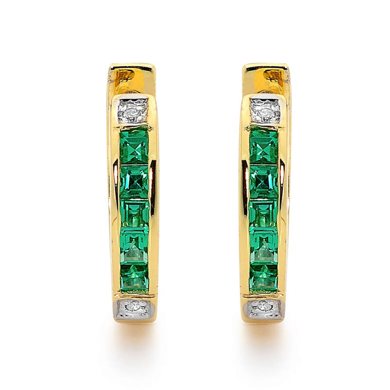 Emerald and Diamond Huggie Earrings