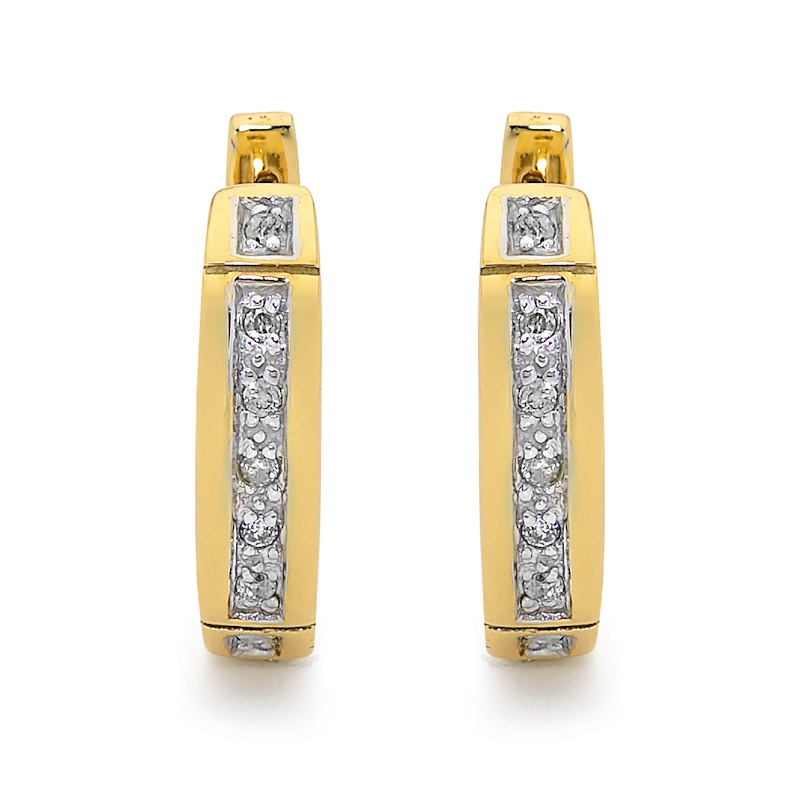 Diamond Set Gold Huggie Hoop Earrings