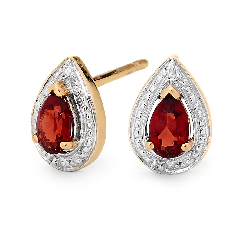 Teardrop garnet and Diamond Earrings