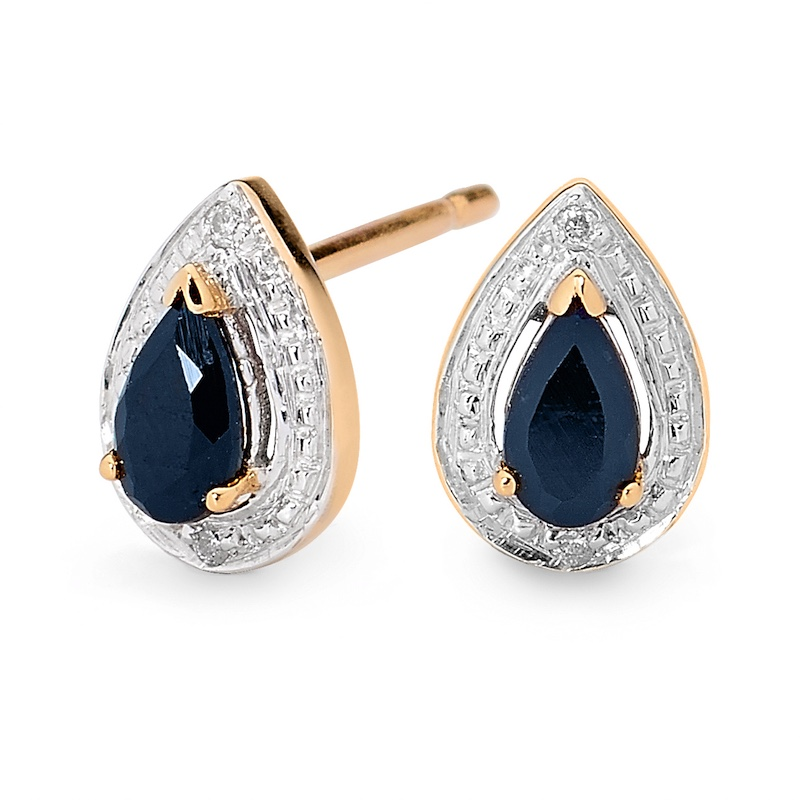 Teardrop Sapphire and Diamond Earstuds