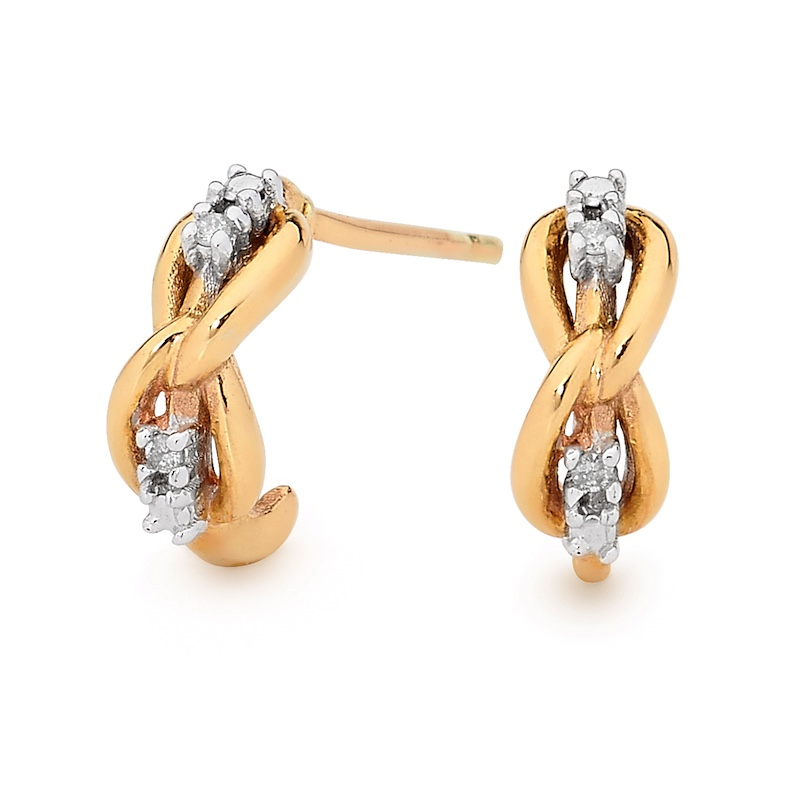 Gold and Diamond Knot Earrings