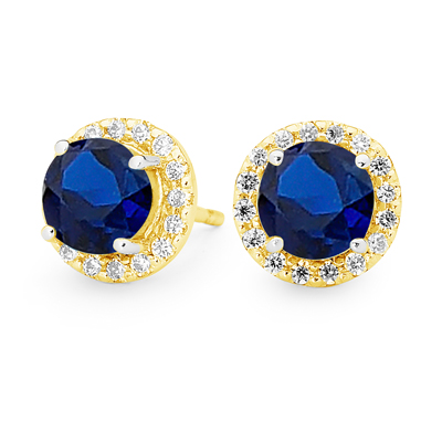 Created Sapphire Earrings with CZ Halo