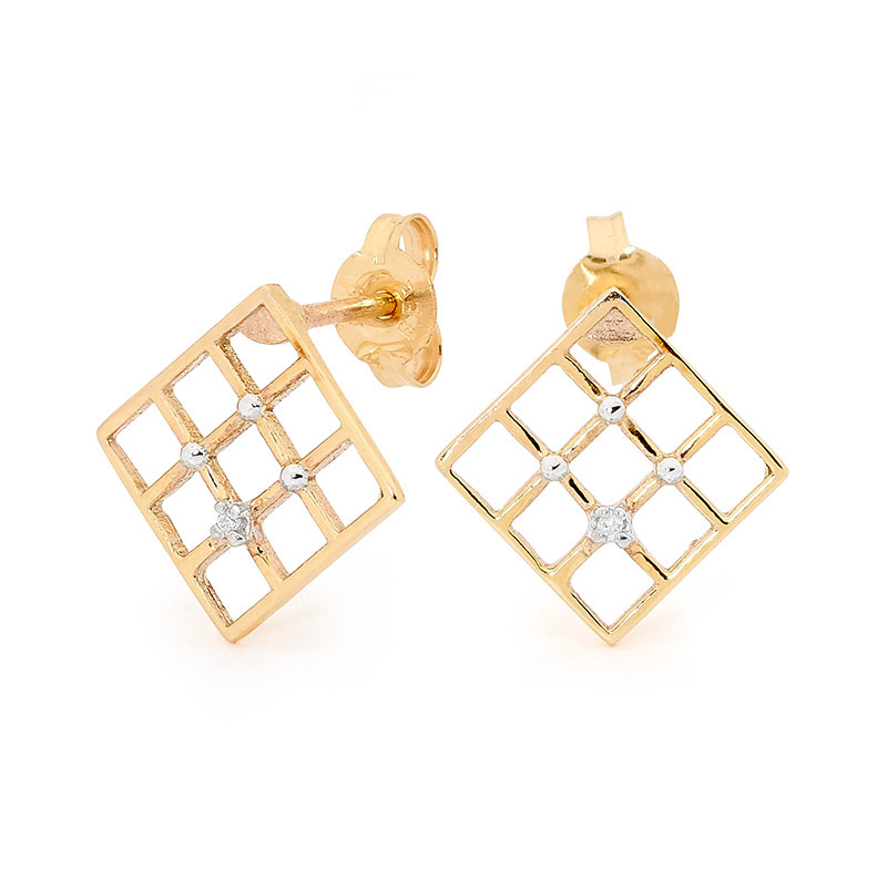 Square Slat Weave Diamond Earrings