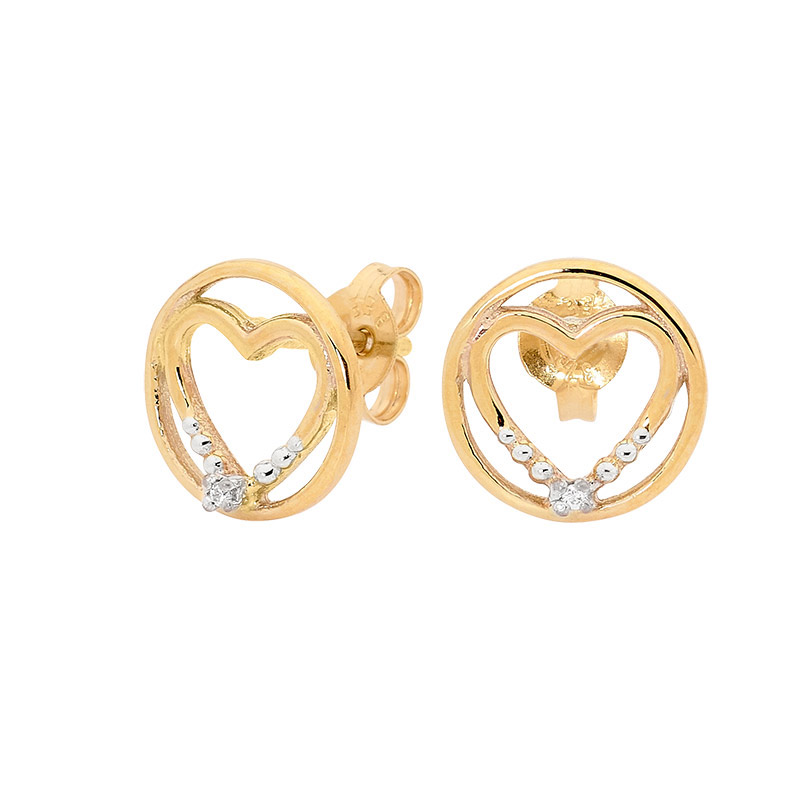 Heart in Circle Earrings with Diamond - E08