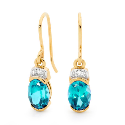 Hook Earrings with Blue Topaz and Diamond