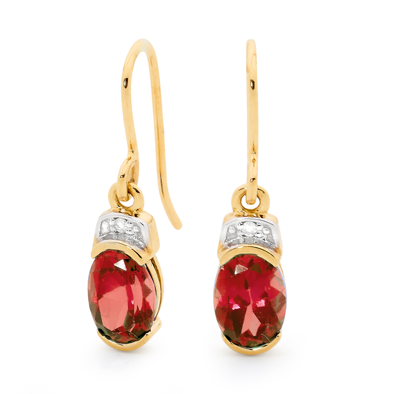 Created Ruby and Diamond Hook Earrings