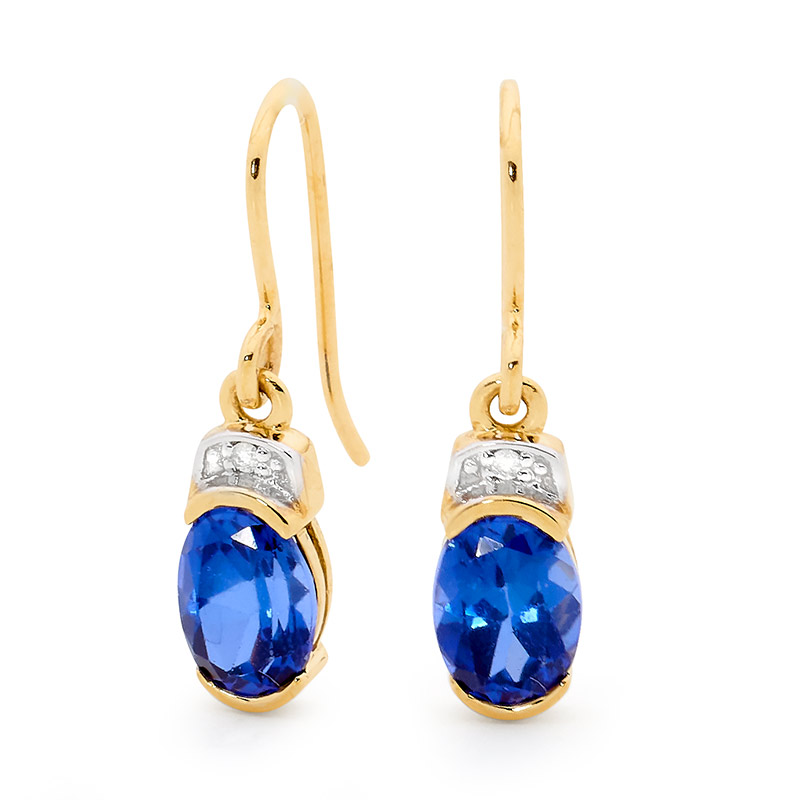 Created Sapphire and Diamond Hook Earrings