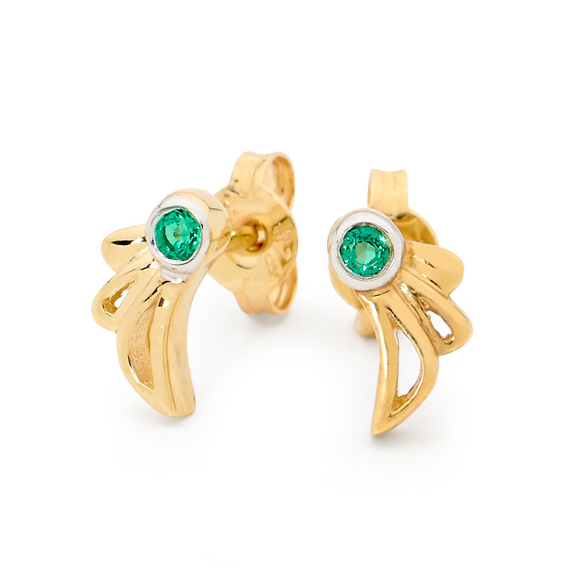 Angel Wing Ear Studs with Emerald