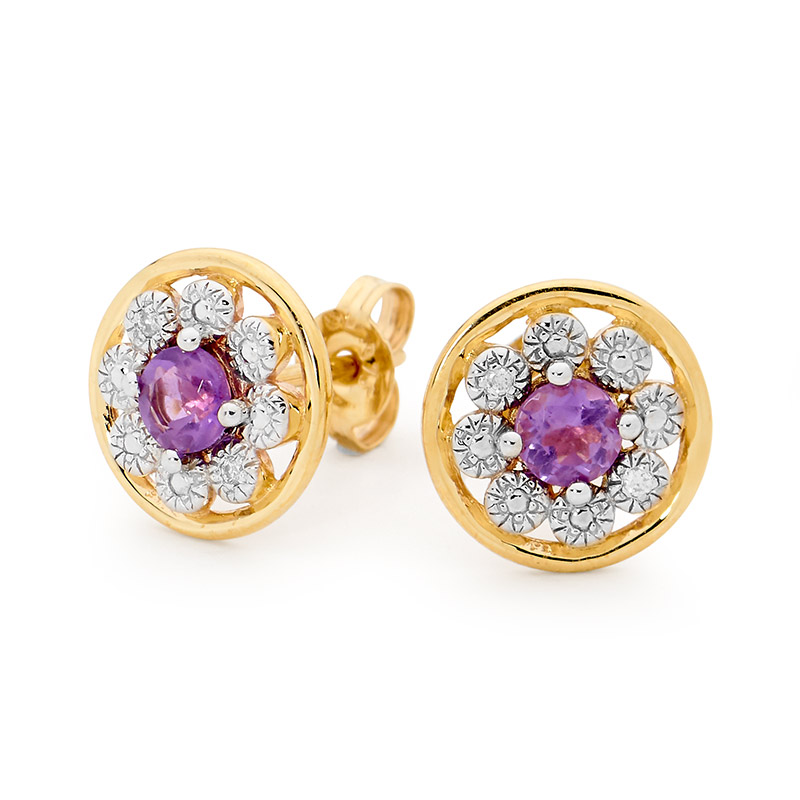 Amethyst Earrings with Diamond Halo