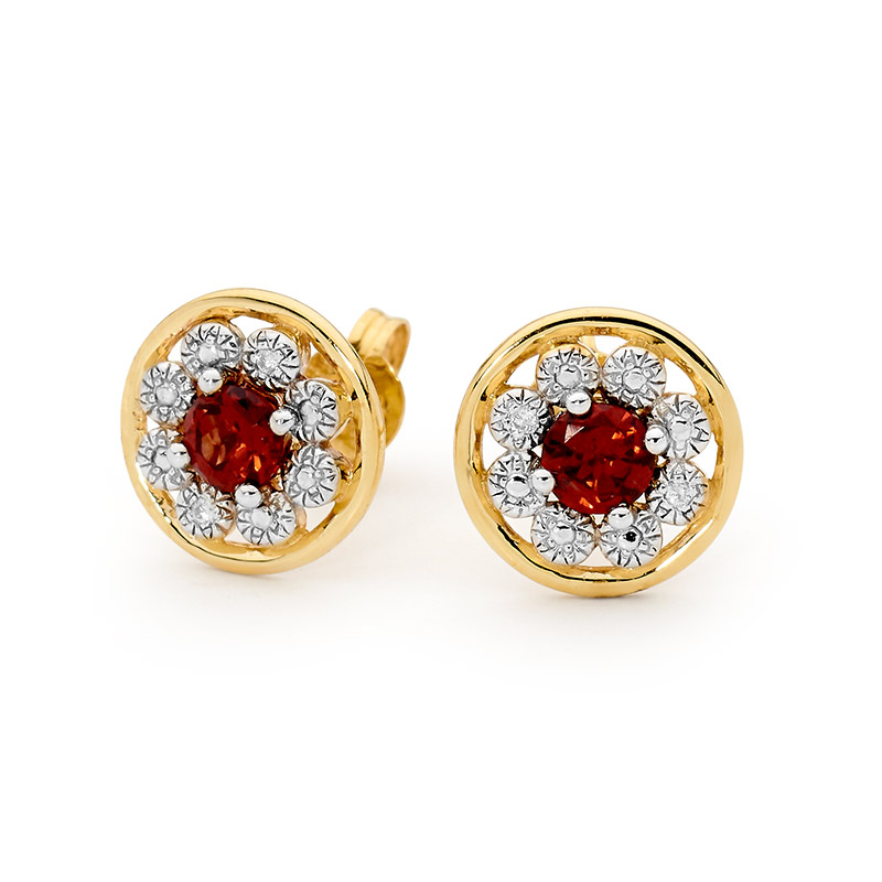 Garnet Earrings with Diamond Halo