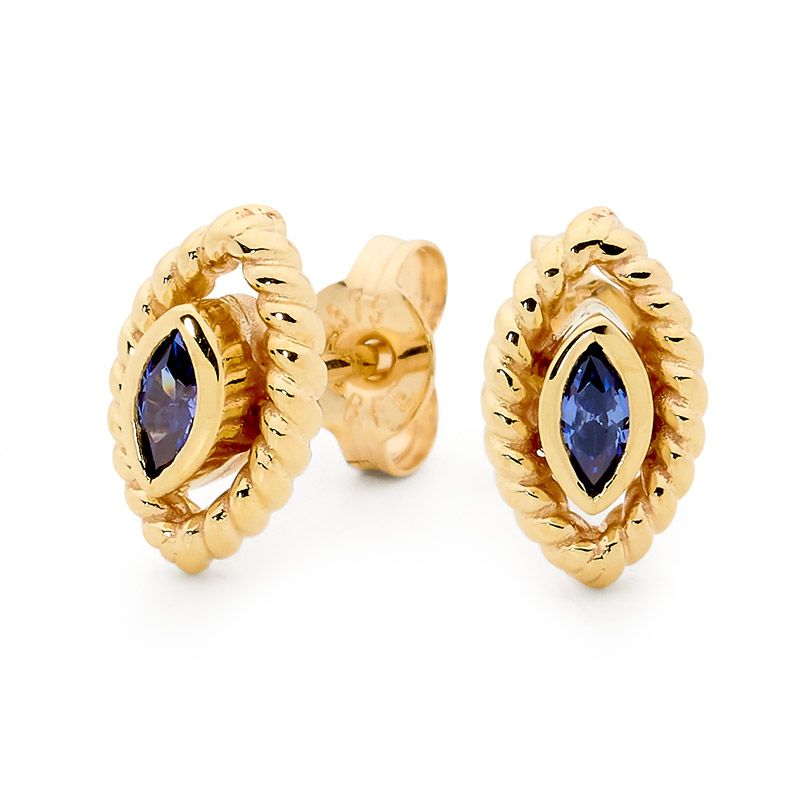 Earrings with Blue Marquise CZ - Brown Paper