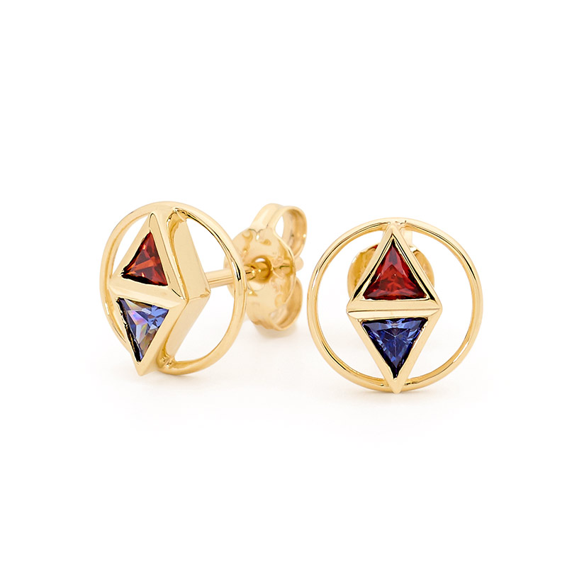 Triangle Earrings with Red Blue CZ- Brown Paper