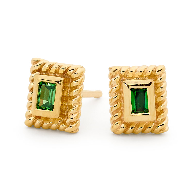 Mini Earrings with Green CZ - Brown Paper