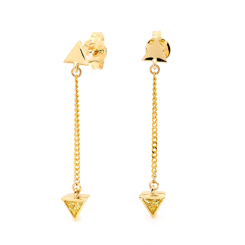 Sexy Drop Earrings with Yellow CZ - Brown Paper