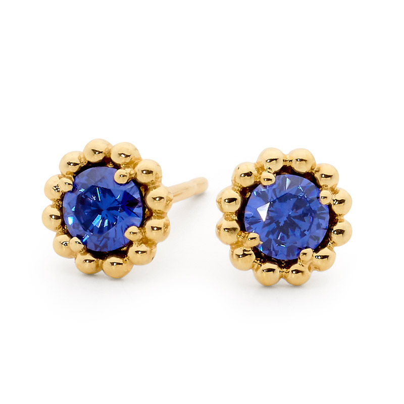 Mini Flower Earring with Iris Blue CZ - Brown Paper