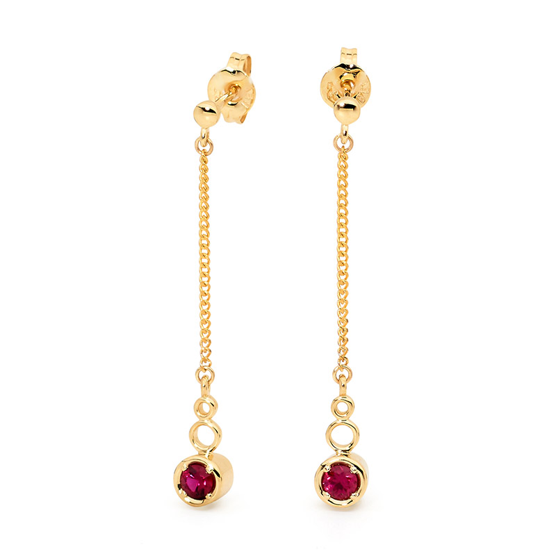 Drop Earrings With Red CZ- Brown Paper
