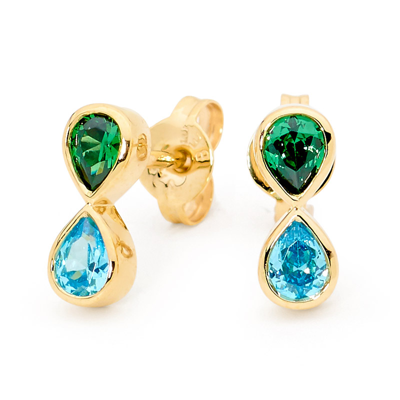 earring with Bright Blue Green CZ - Brown Paper