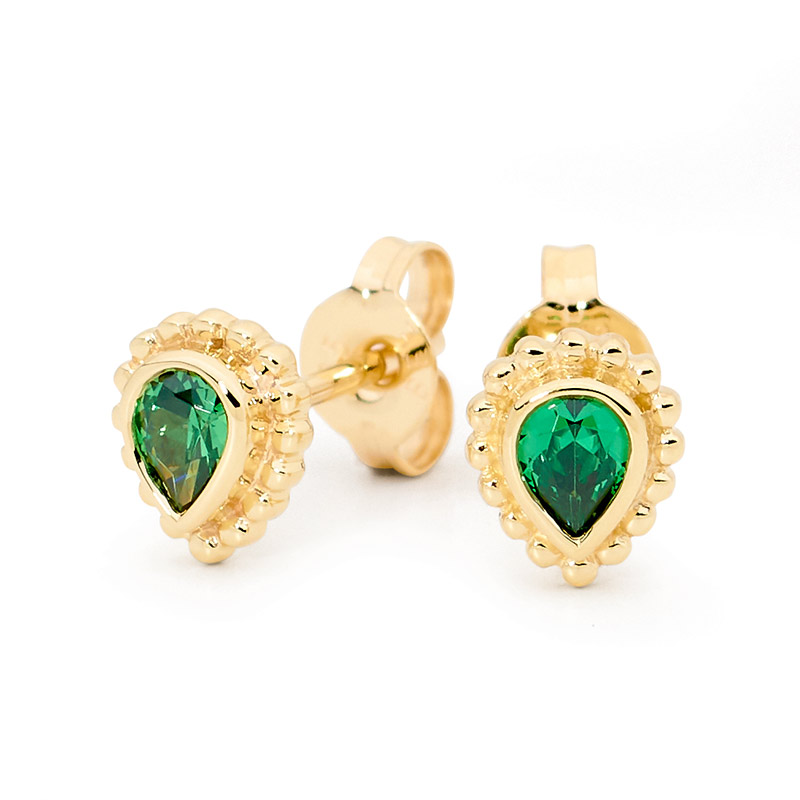 Teardrop Earrings with Green CZ- Brown Paper